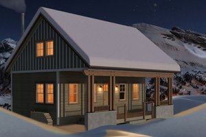 Cottage Exterior - Front Elevation Plan #556-3