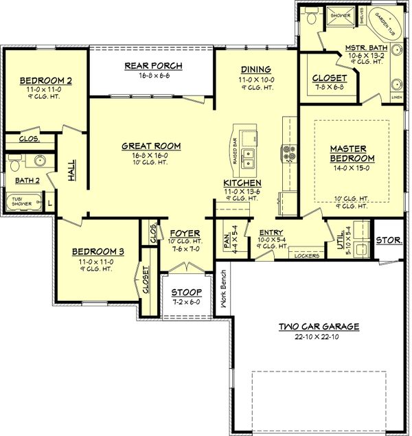 European Floor Plan - Main Floor Plan Plan #430-65