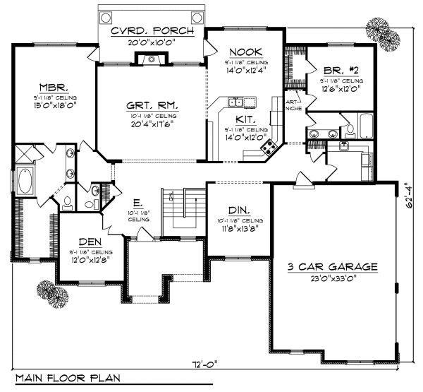 European Floor Plan - Main Floor Plan Plan #70-875