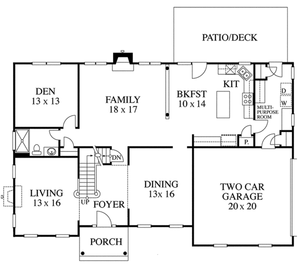 Colonial Floor Plan - Main Floor Plan Plan #1053-61