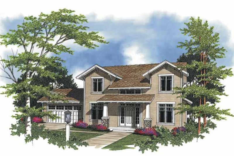 Craftsman Exterior - Front Elevation Plan #48-760