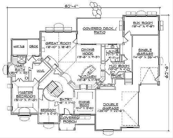 European Floor Plan - Main Floor Plan Plan #5-229