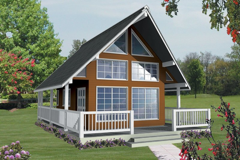 Cabin Exterior - Front Elevation Plan #118-163 - Houseplans.com