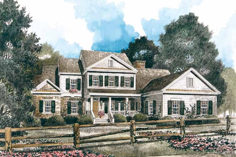 Country Exterior - Front Elevation Plan #429-389