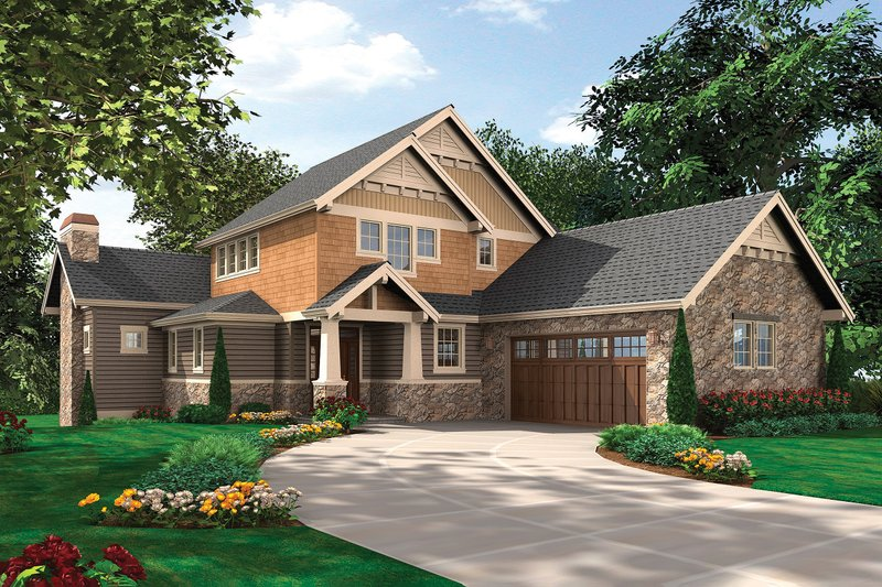 Craftsman Style House Plan - 5 Beds 4.5 Baths 3926 Sq/Ft Plan #48-563 Exterior - Front Elevation
