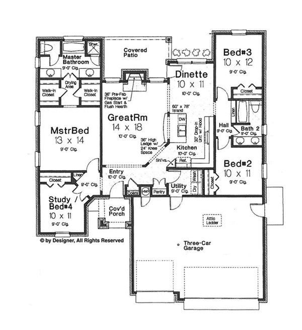 European Floor Plan - Main Floor Plan Plan #310-1259