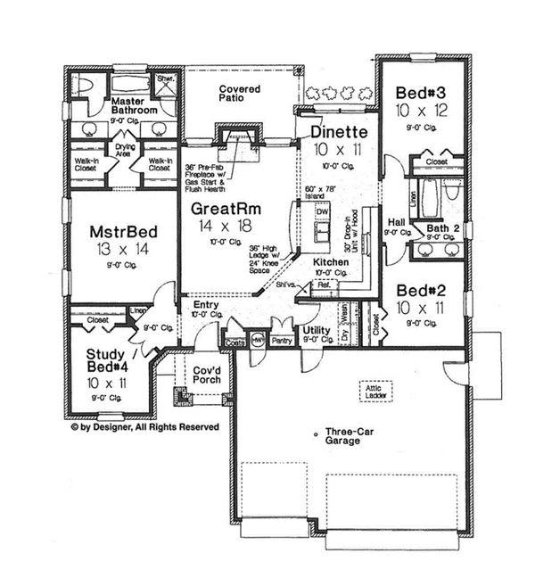 House Plan Design - European Floor Plan - Main Floor Plan #310-1259