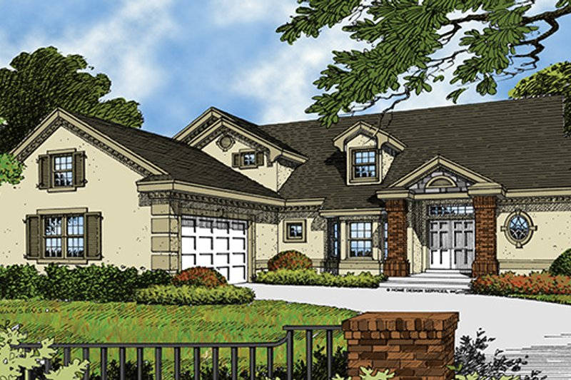 Mediterranean Exterior - Front Elevation Plan #417-725