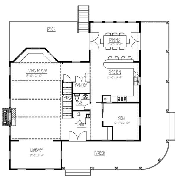 Colonial Floor Plan - Main Floor Plan Plan #1061-6