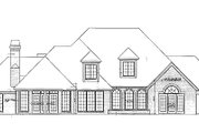 European Style House Plan - 4 Beds 3.5 Baths 3709 Sq/Ft Plan #310-945 Exterior - Rear Elevation