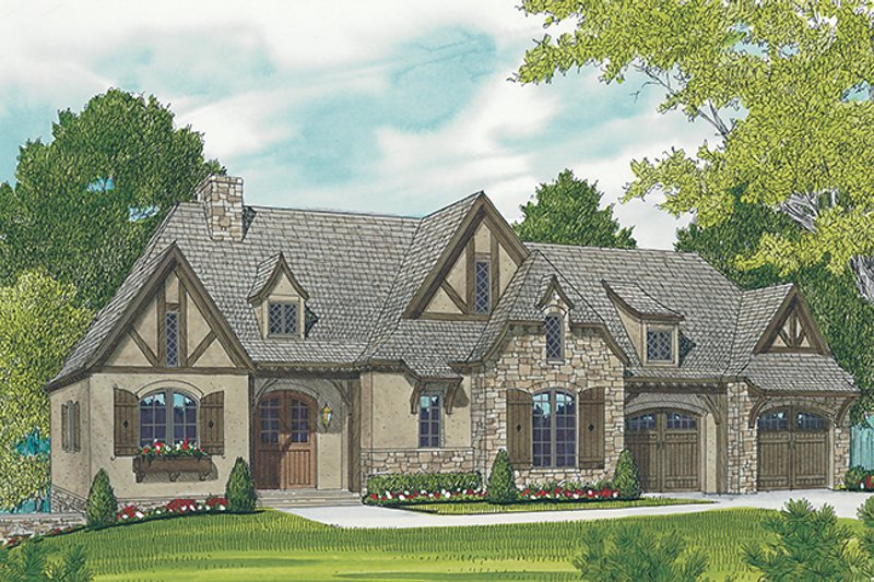 Architectural House Design - Country Exterior - Front Elevation Plan #453-616