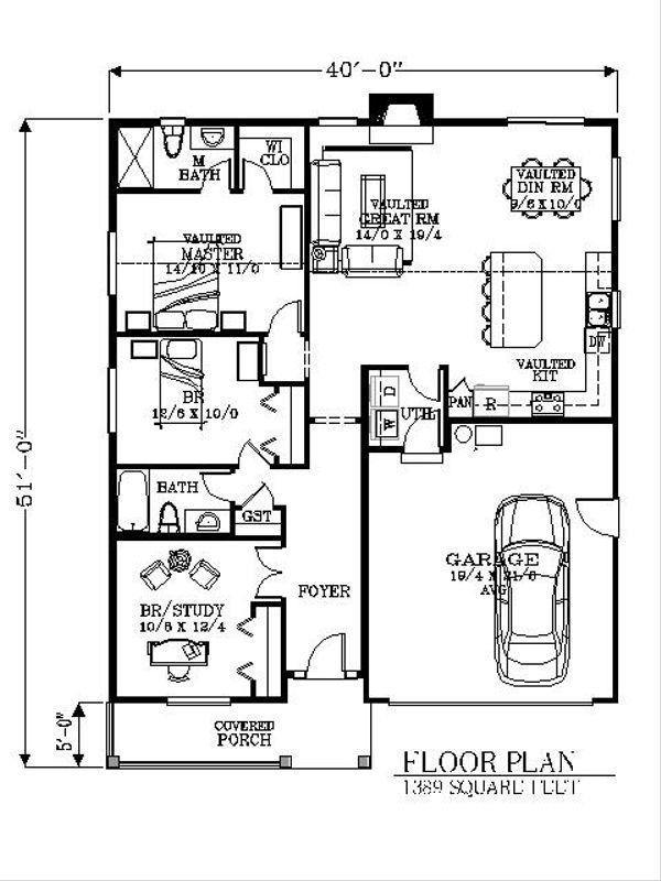 Bungalow Floor Plan - Main Floor Plan Plan #53-437