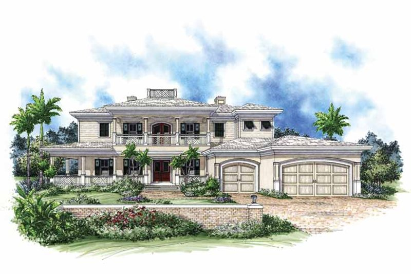Mediterranean Exterior - Front Elevation Plan #1017-66
