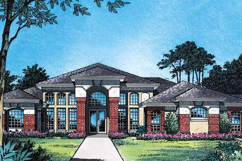 Mediterranean Style House Plan - 4 Beds 3 Baths 2597 Sq/Ft Plan #417-510 Exterior - Front Elevation