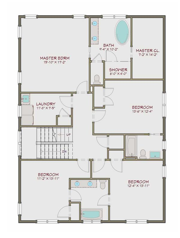 Craftsman Floor Plan - Upper Floor Plan Plan #461-40