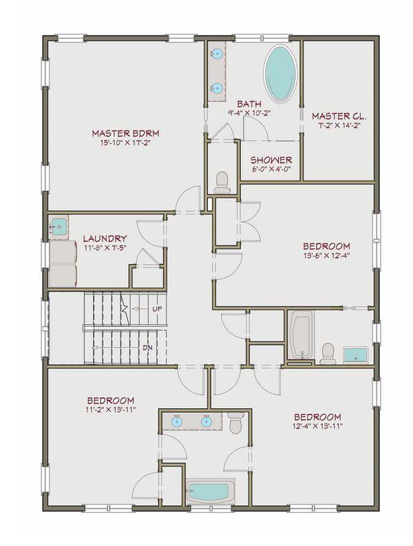Craftsman Floor Plan - Upper Floor Plan #461-40