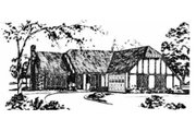 Tudor Style House Plan - 3 Beds 2 Baths 1503 Sq/Ft Plan #36-321 Exterior - Front Elevation