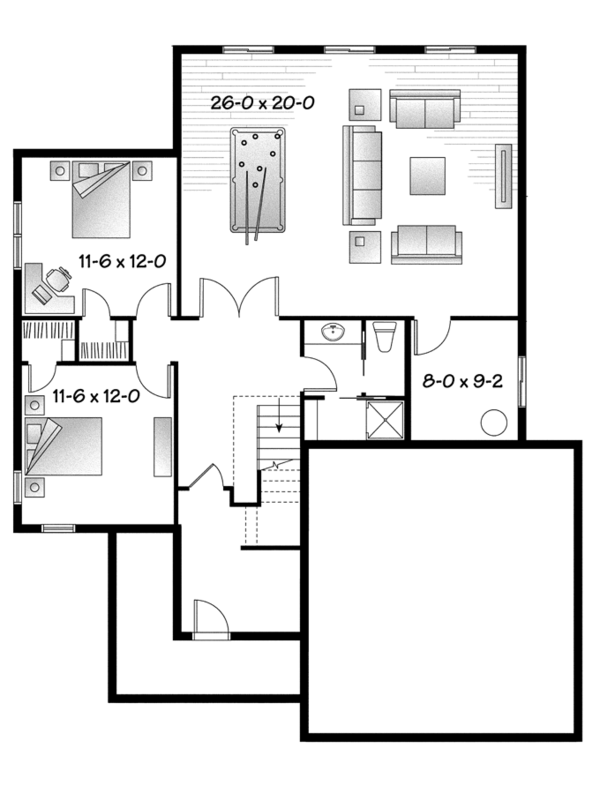 Country Floor Plan - Lower Floor Plan Plan #23-2573