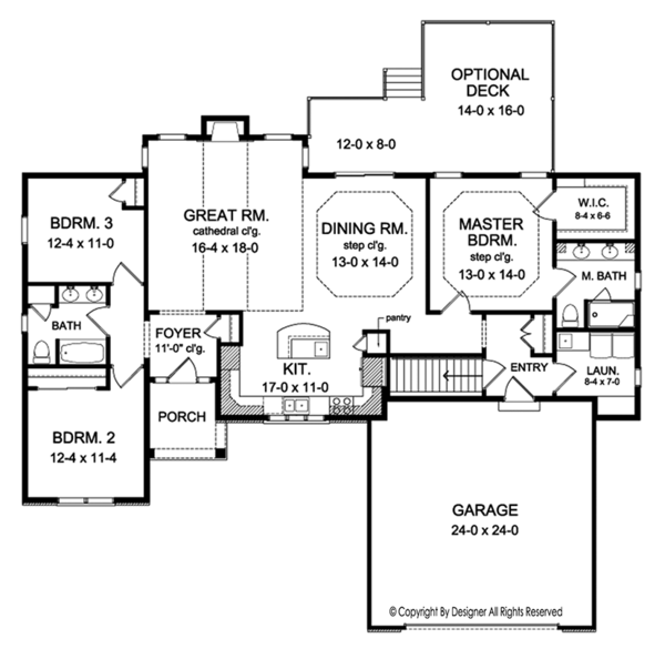 Ranch Floor Plan - Main Floor Plan Plan #1010-141