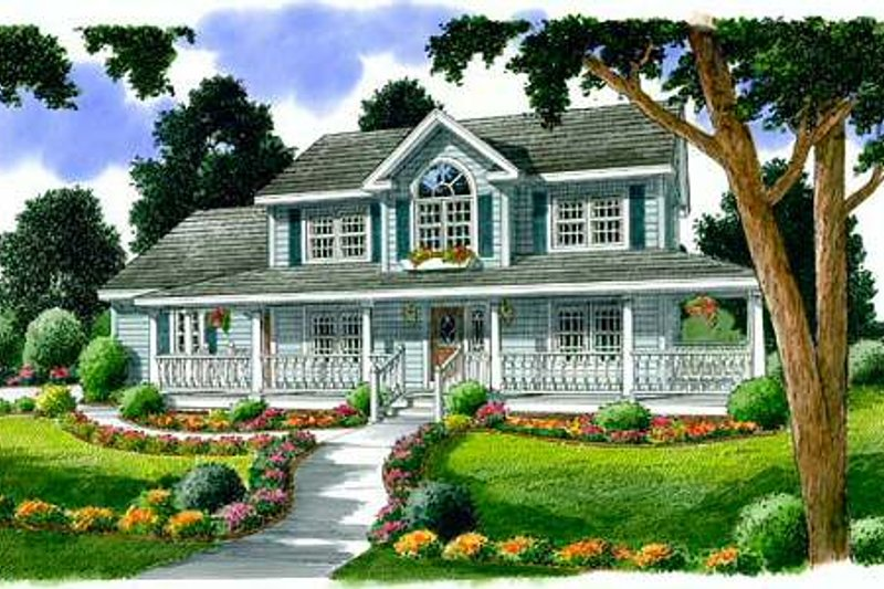 Country Style House Plan - 4 Beds 2.5 Baths 2260 Sq/Ft Plan #312-471 Exterior - Front Elevation