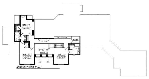 European Floor Plan - Upper Floor Plan Plan #70-887