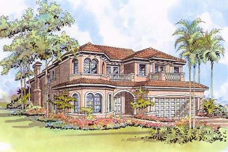 Mediterranean Style House Plan - 5 Beds 4.5 Baths 4224 Sq/Ft Plan #420-151 Exterior - Front Elevation