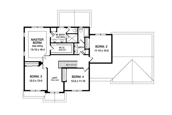 Colonial Floor Plan - Upper Floor Plan Plan #1010-216