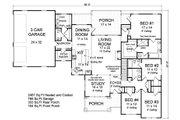 Ranch Style House Plan - 4 Beds 3.5 Baths 2487 Sq/Ft Plan #513-2185 Floor Plan - Main Floor Plan