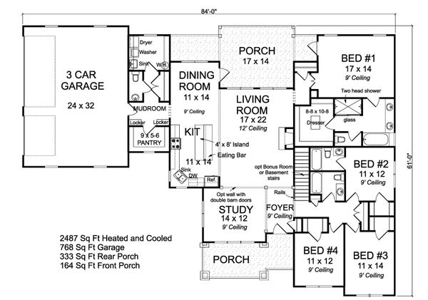 Home Plan - Ranch Floor Plan - Main Floor Plan #513-2185