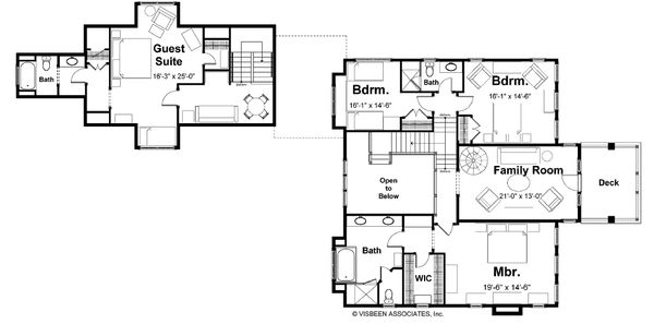 Craftsman Floor Plan - Upper Floor Plan Plan #928-7