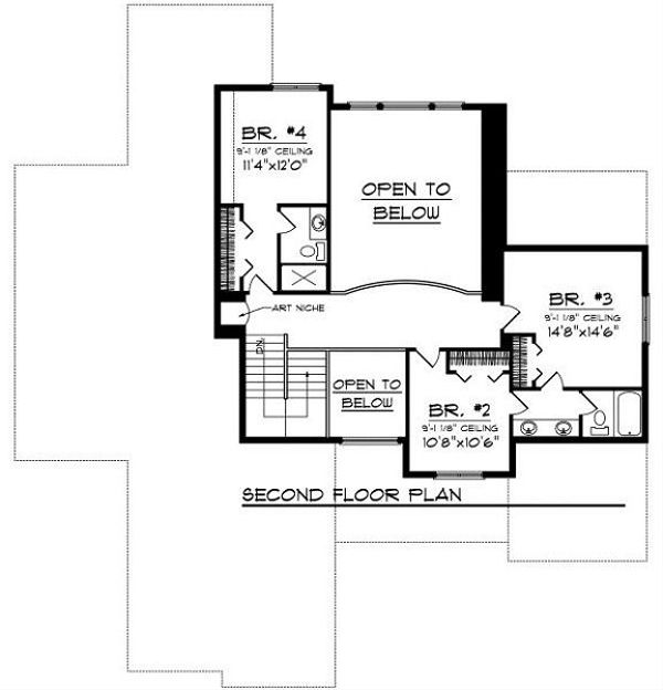 Cottage Floor Plan - Upper Floor Plan Plan #70-883