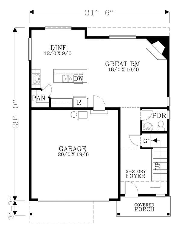 Craftsman Floor Plan - Main Floor Plan Plan #53-503