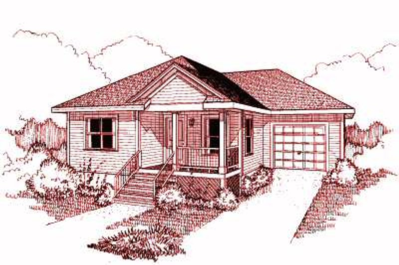 Traditional Style House Plan - 3 Beds 2 Baths 1080 Sq/Ft Plan #79-131 Exterior - Front Elevation