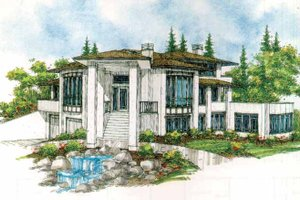 Dream House Plan - Prairie Exterior - Front Elevation Plan #509-429