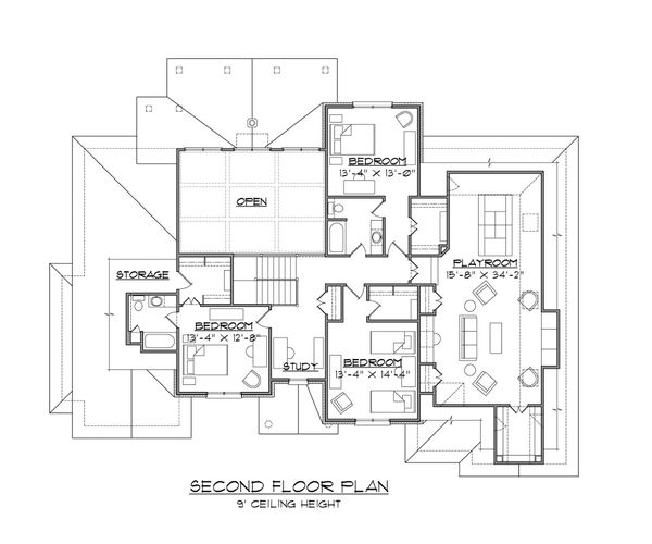 House Plan Design - European Floor Plan - Upper Floor Plan #1054-89