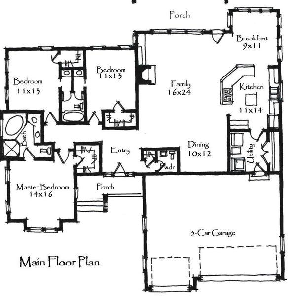 Craftsman Floor Plan - Main Floor Plan Plan #921-19