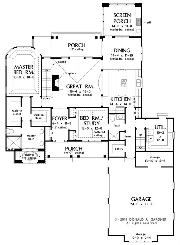 Craftsman Floor Plan - Main Floor Plan Plan #929-982