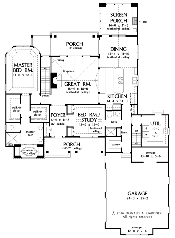Craftsman Floor Plan - Main Floor Plan Plan #929-982