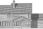 Traditional Style House Plan - 4 Beds 2.5 Baths 2800 Sq/Ft Plan #70-449 Exterior - Rear Elevation