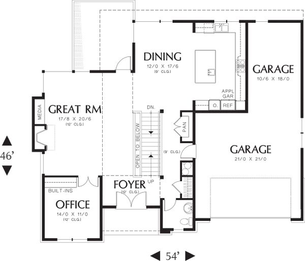 Main Level Floor plan - 3700 square foot Prairie style home