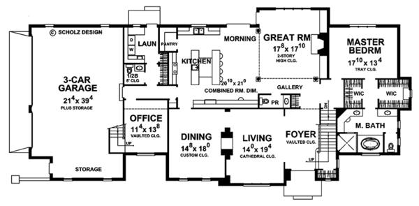 House Plan Design - European Floor Plan - Main Floor Plan #20-2246