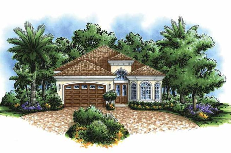 Dream House Plan - Mediterranean Exterior - Front Elevation Plan #1017-82