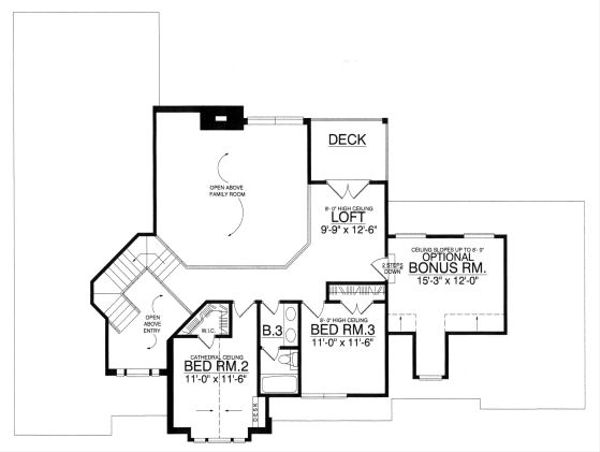 European Floor Plan - Upper Floor Plan Plan #40-395