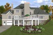 European Style House Plan - 4 Beds 4.5 Baths 3271 Sq/Ft Plan #56-214 Exterior - Rear Elevation