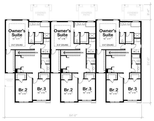 Architectural House Design - Traditional Floor Plan - Upper Floor Plan #20-2356