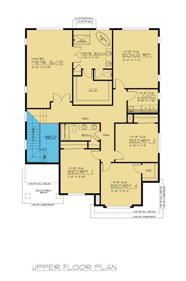 Colonial Floor Plan - Upper Floor Plan #1066-76