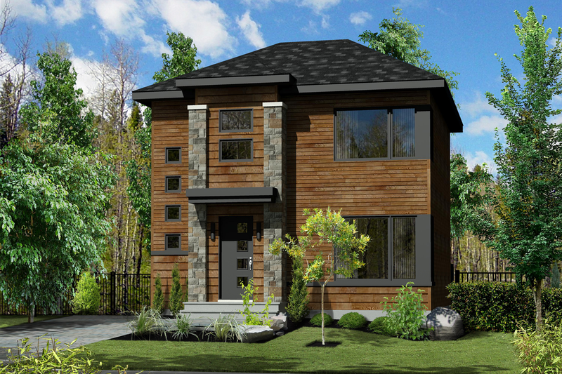 Contemporary Style House Plan - 3 Beds 1 Baths 1264 Sq/Ft Plan #25-4350 Exterior - Front Elevation
