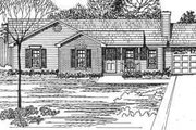 Ranch Style House Plan - 3 Beds 2 Baths 1180 Sq/Ft Plan #30-112 Exterior - Front Elevation