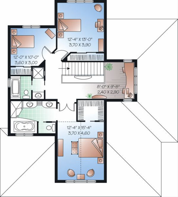 Mediterranean Floor Plan - Upper Floor Plan Plan #23-728