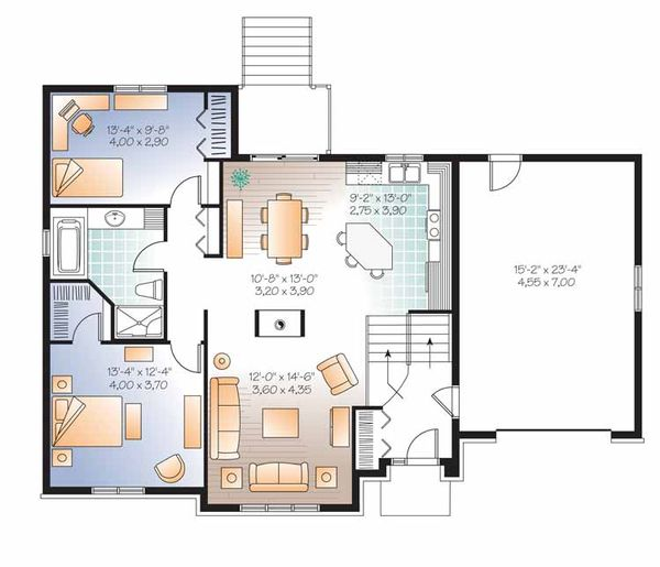 European Floor Plan - Main Floor Plan Plan #23-2540